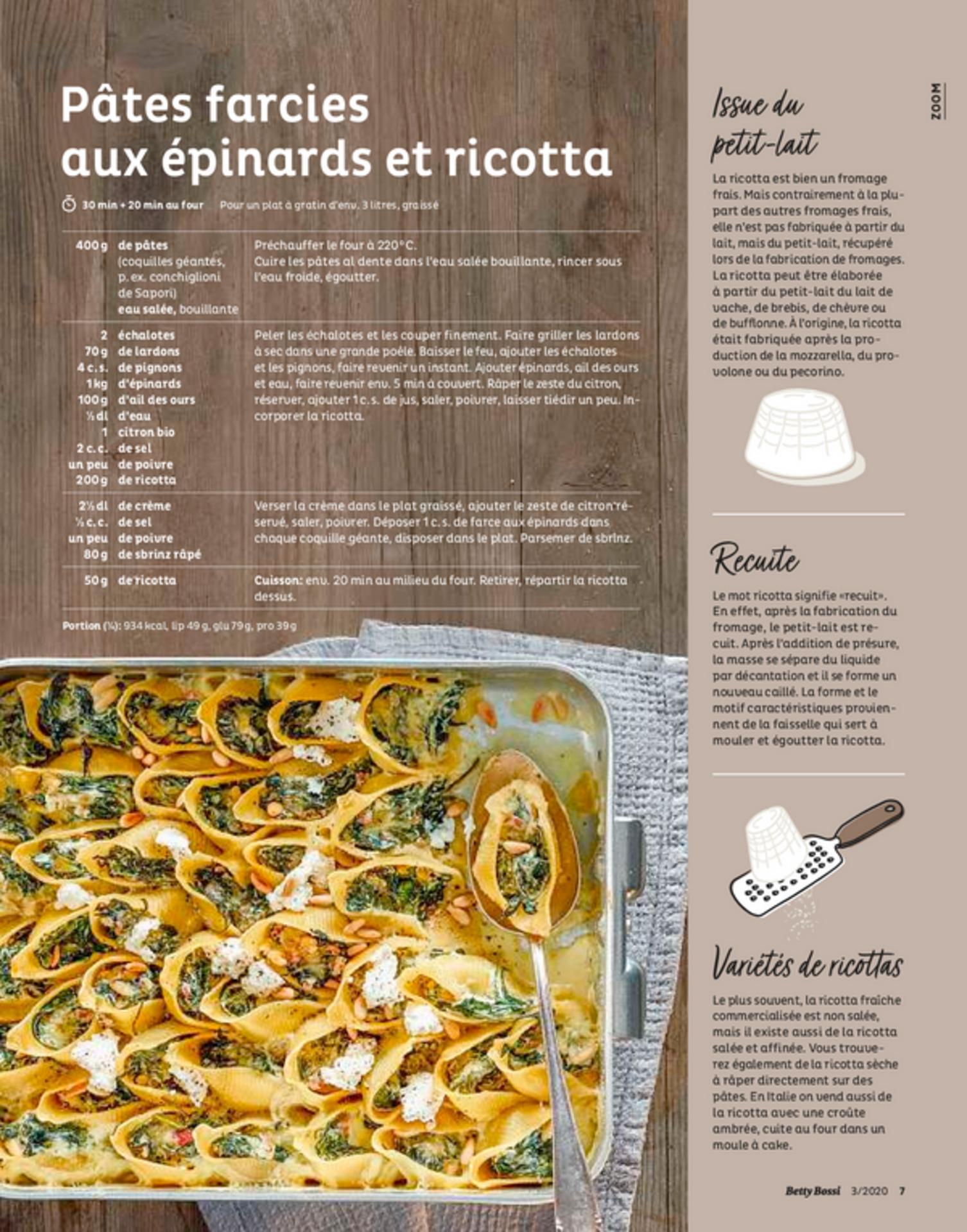 Pâtes farcies aux épinards et ricotta